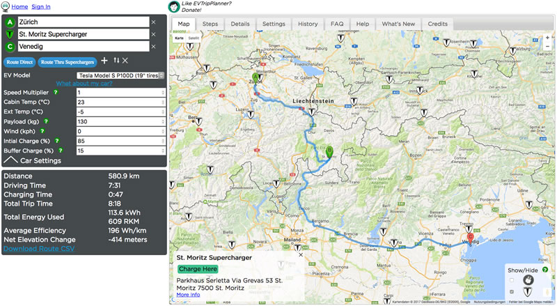 Ev Trip Planner >> The Ultimate Route Planning For Tesla S With Ev Trip Planner