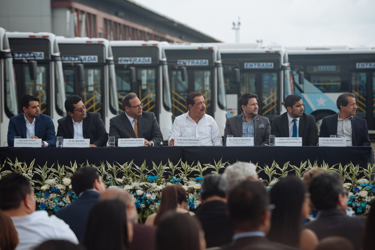 The mayor of Guayaquil, Jaime Nebot (Middle), and other senior government officials at the delivery ceremony.